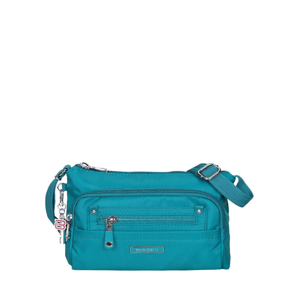 Crossbody Bag - Hemet Leather Trimmed Small Travel Crossbody Bag Front [Ocean Blue]