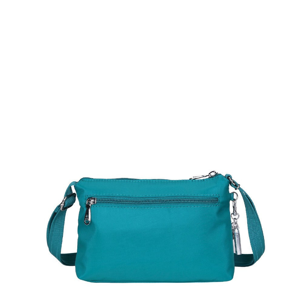 Crossbody Bag - Hemet Leather Trimmed Small Travel Crossbody Bag Back [Ocean Blue]