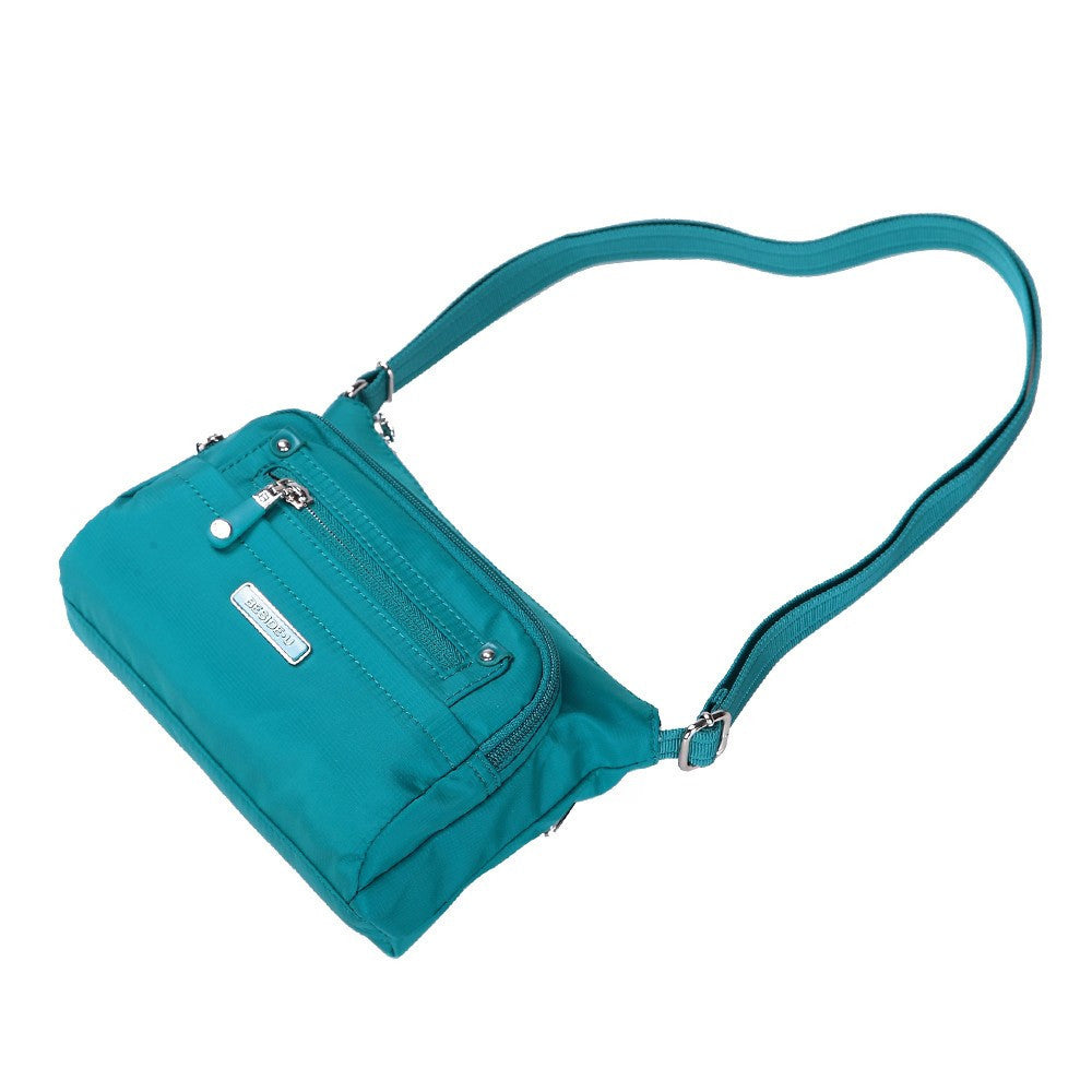 Crossbody Bag - Hemet Leather Trimmed Small Travel Crossbody Bag Lying Down [Ocean Blue]