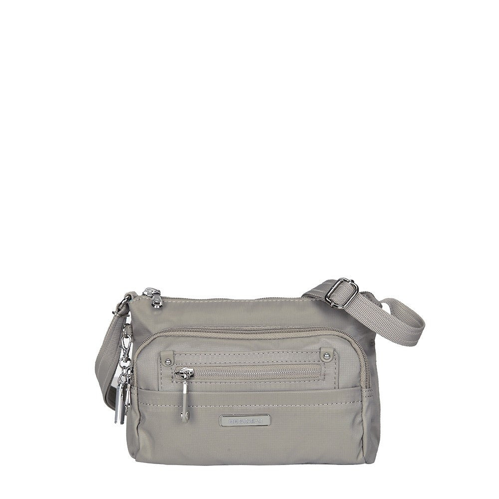 Crossbody Bag - Hemet Leather Trimmed Small Travel Crossbody Bag Front [Moon Grey]