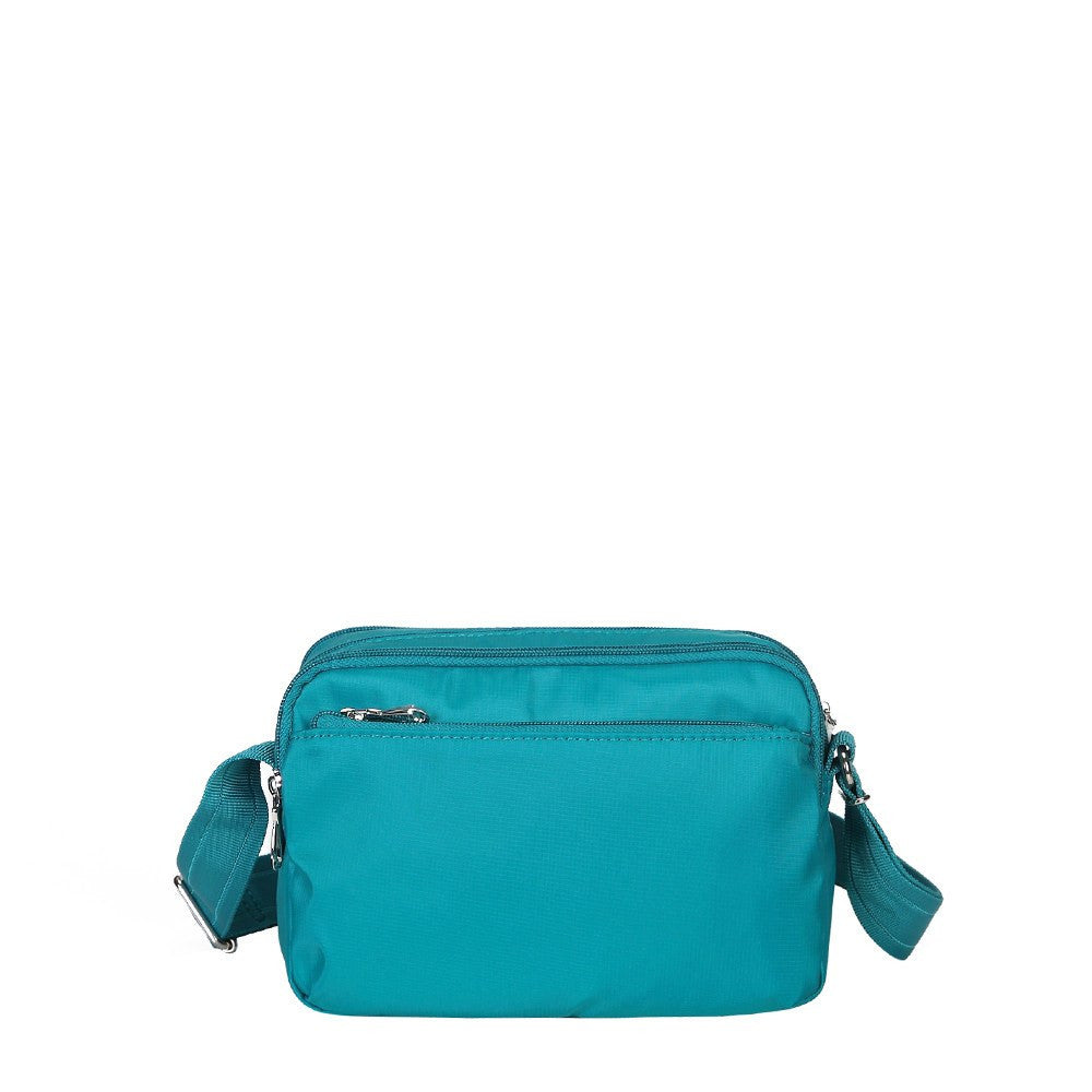 Crossbody Bag - Imperia Leather Trimmed Small Crossbody Bag Back [Ocean Blue]