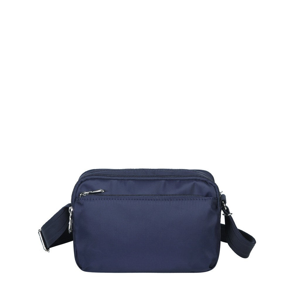 Crossbody Bag - Imperia Leather Trimmed Small Crossbody Bag Back [Evening Blue]