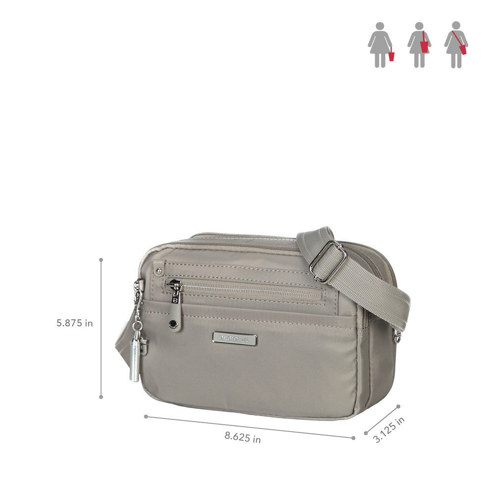 Crossbody Bag - Imperia Leather Trimmed Small Crossbody Bag Size [Moon Grey]