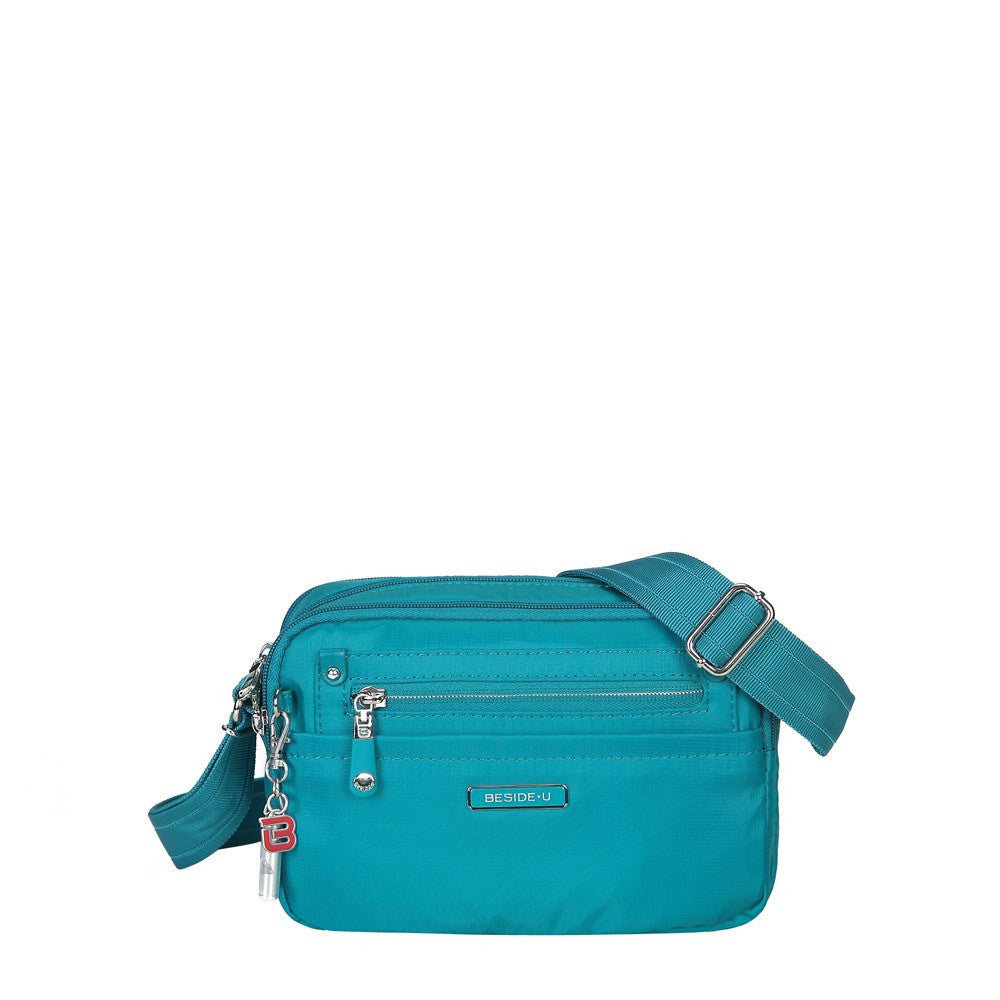 Crossbody Bag - Imperia Leather Trimmed Small Crossbody Bag Front [Ocean Blue]