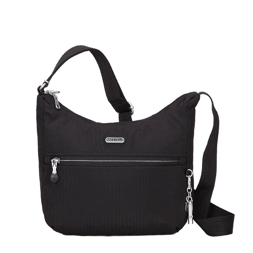 Crossbody Bag - Juliana Debossed Travel Crossbody Bag Front [Black]