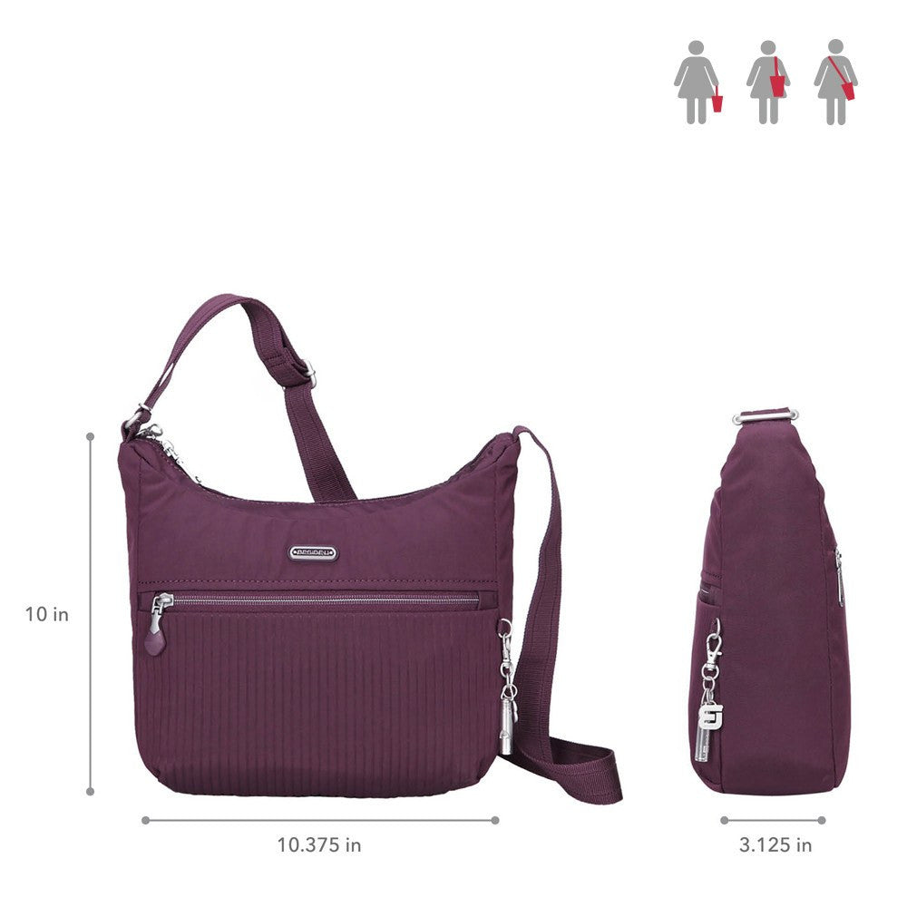 Crossbody Bag - Juliana Debossed Travel Crossbody Bag Size [Blackberry Wine]