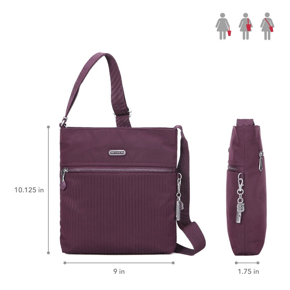 Crossbody Bag - Mika Debossed Casual Crossbody Bag Size [Blackberry Wine]