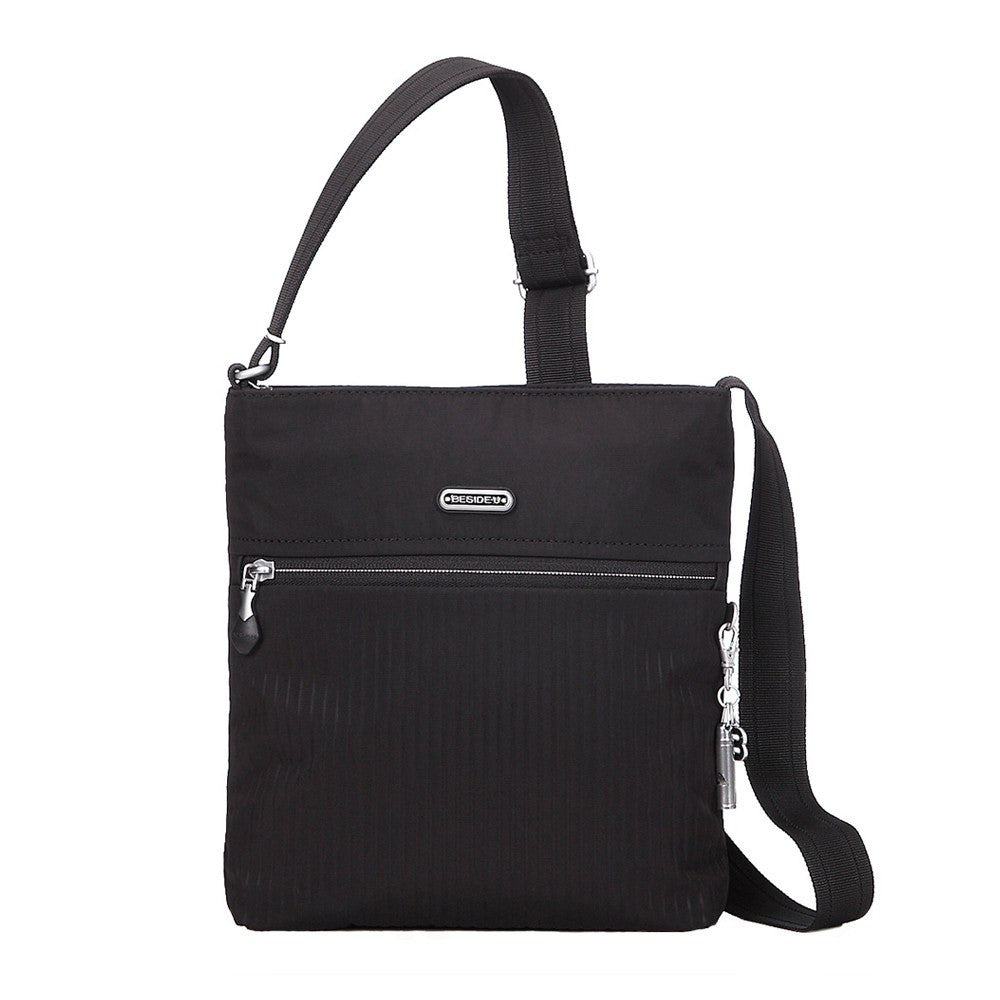 Crossbody Bag - Mika Debossed Casual Crossbody Bag Front [Black]