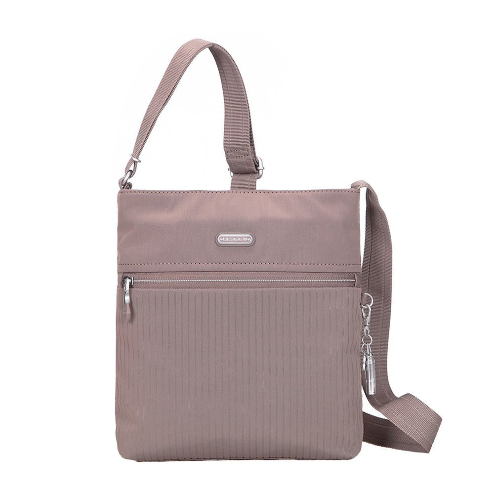 Crossbody Bag - Mika Debossed Casual Crossbody Bag Front [Zinc Grey]