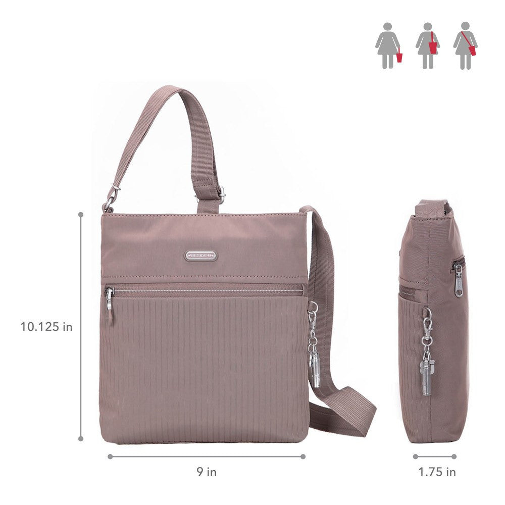 Crossbody Bag - Mika Debossed Casual Crossbody Bag Size [Zinc Grey]