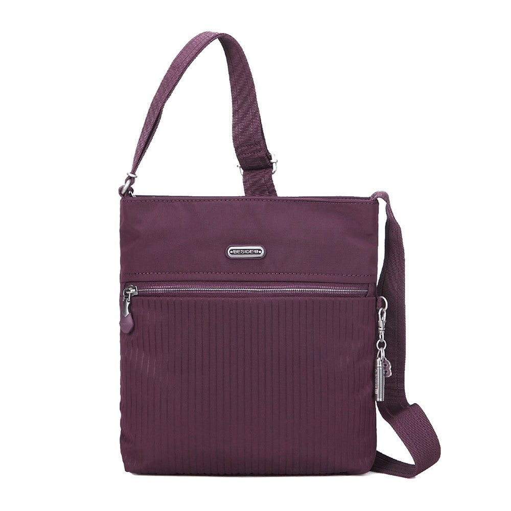 Crossbody Bag - Mika Debossed Casual Crossbody Bag Front [Blackberry Wine]