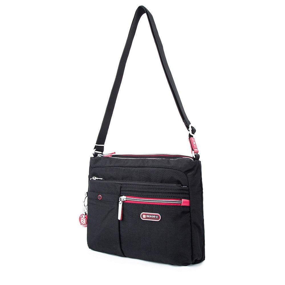 Crossbody Bag - Ottawa Two-Tone City Crossbody Bag Angled [Black And Dark Red]