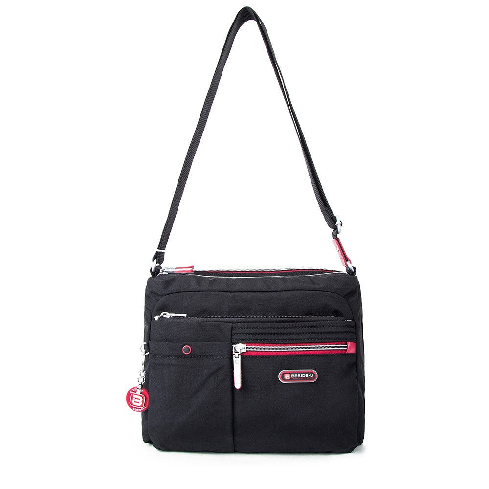 Crossbody Bag - Ottawa Two-Tone City Crossbody Bag Front [Black And Dark Red]