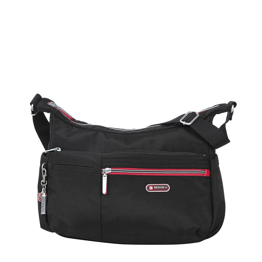 Crossbody Bag - Picardy Two-Tone Travel Crossbody Bag Front [Black And Dark Red]