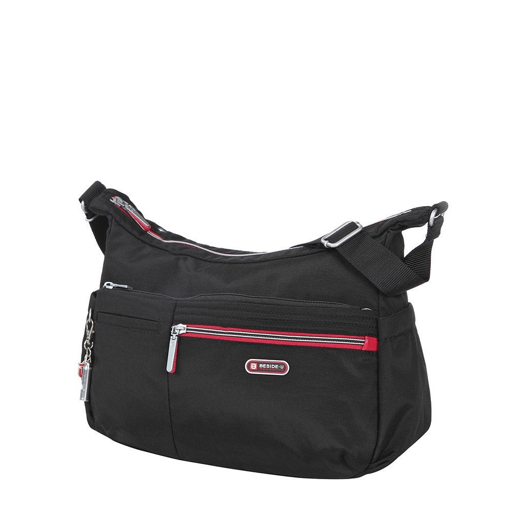 Crossbody Bag - Picardy Two-Tone Travel Crossbody Bag Angled [Black And Dark Red]