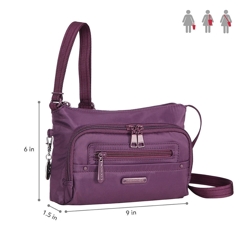 Crossbody Bag - Sandbach RFID Pocket Small Travel Crossbody Bag Size [Wineberry Purple]