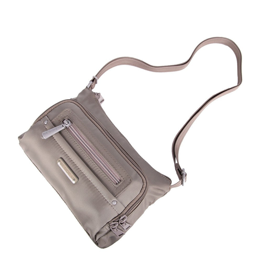Crossbody Bag - Sandbach RFID Pocket Small Travel Crossbody Bag Lying Down [Brindle Grey]