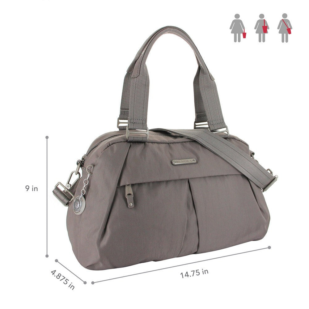 Satchel Handbag - Amaris RFID Pocket Multi-Functional Satchel Handbag Size [Cord Brown]