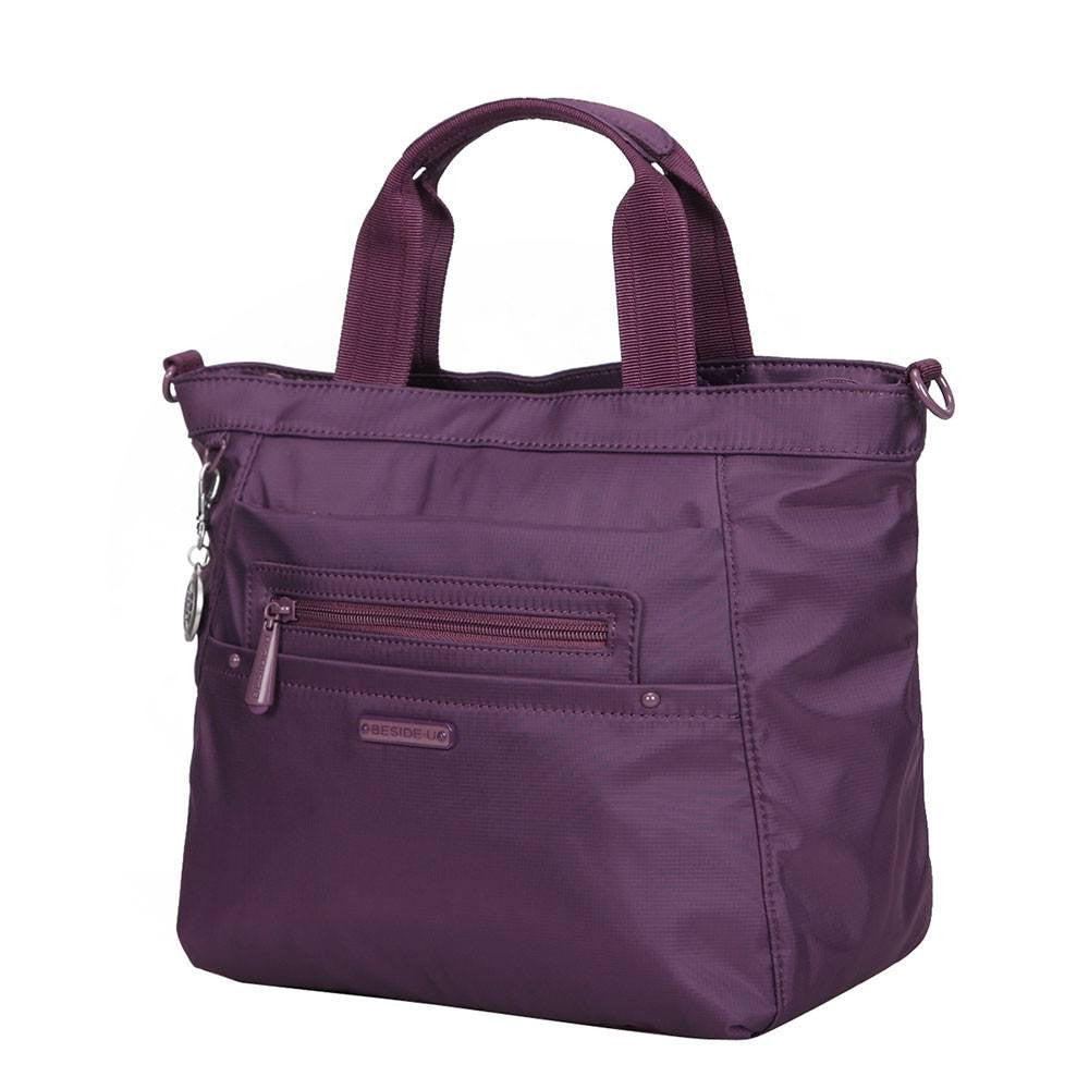 Satchel Handbag - Antioch RFID Pocket Multi Function Satchel Handbag Angled [Wineberry Purple]