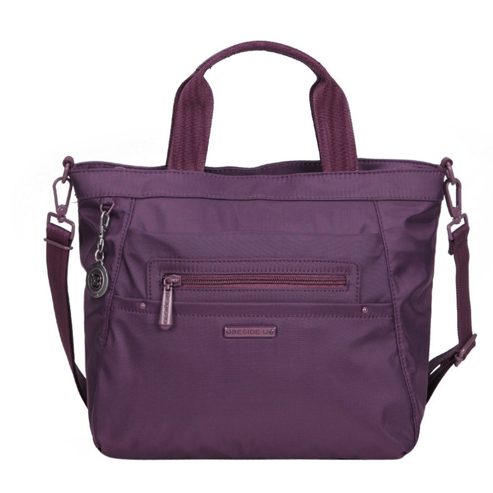 Satchel Handbag - Antioch RFID Pocket Multi Function Satchel Handbag Front with Strap [Wineberry Purple]