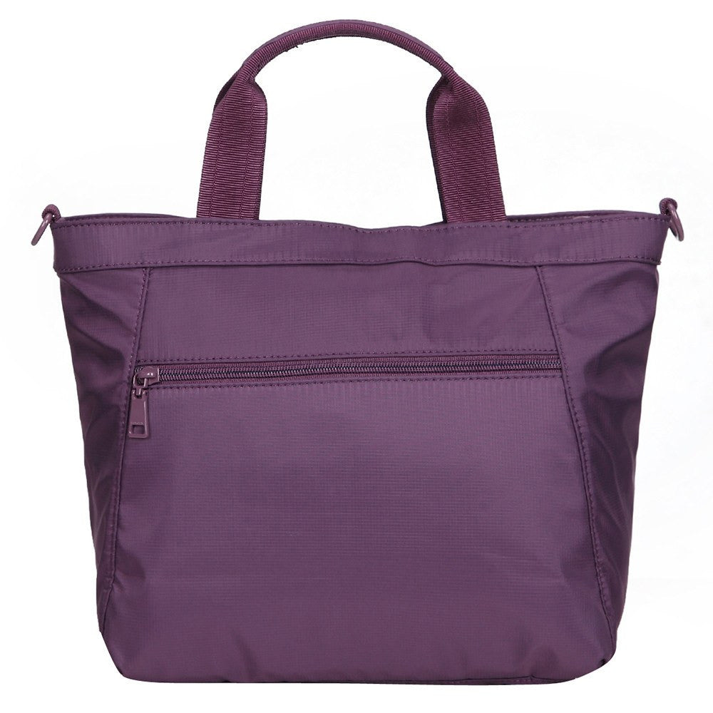 Satchel Handbag - Antioch RFID Pocket Multi Function Satchel Handbag Back [Wineberry Purple]