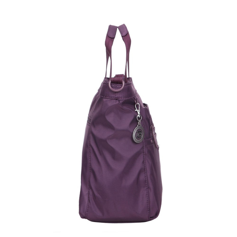 Satchel Handbag - Antioch RFID Pocket Multi Function Satchel Handbag Side [Wineberry Purple]