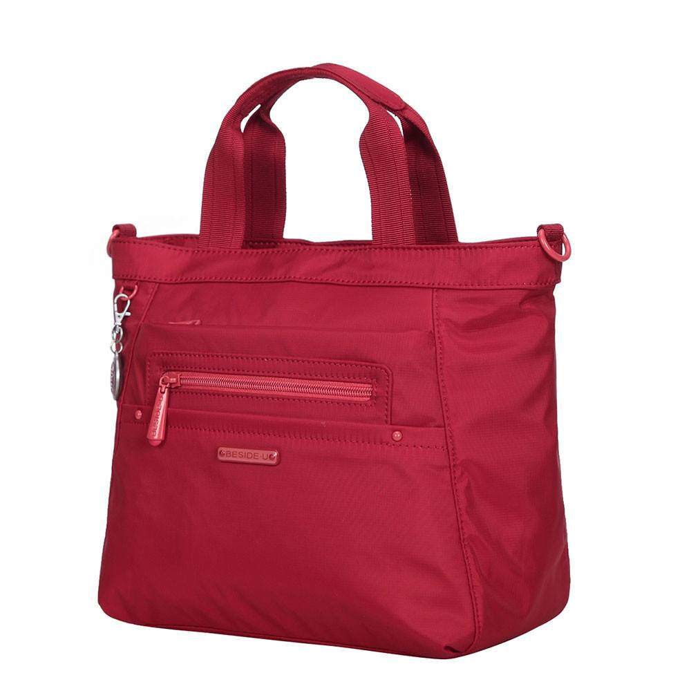 Satchel Handbag - Antioch RFID Pocket Multi Function Satchel Handbag Angled [Jester Red]