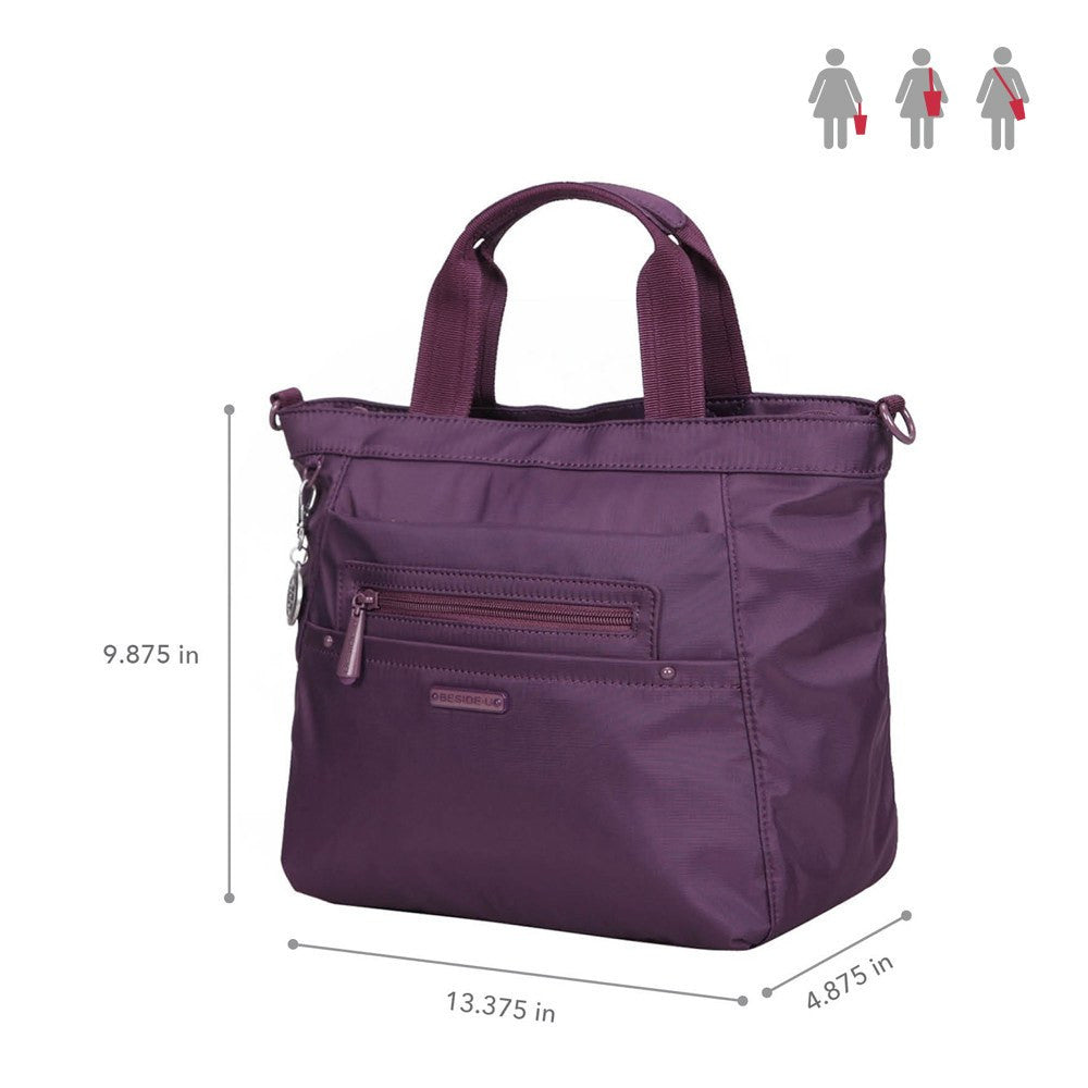 Satchel Handbag - Antioch RFID Pocket Multi Function Satchel Handbag Size [Wineberry Purple]