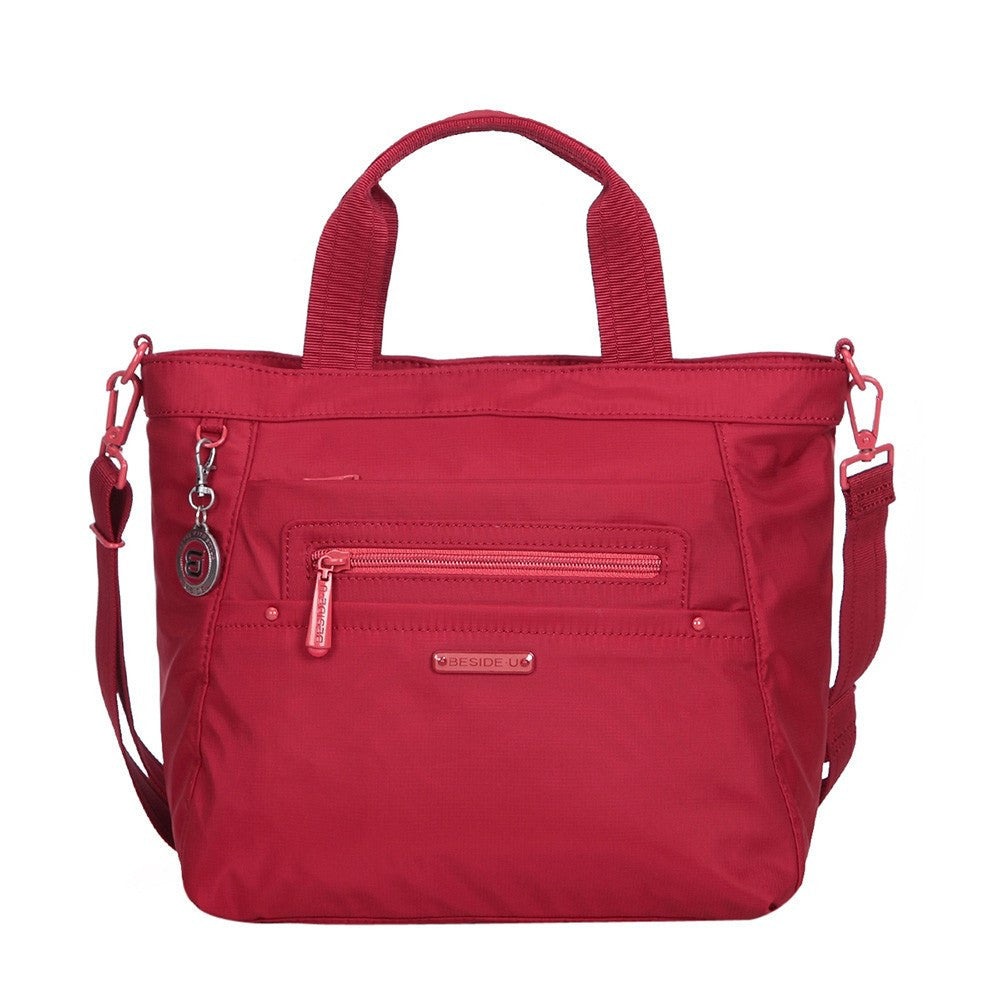 Satchel Handbag - Antioch RFID Pocket Multi Function Satchel Handbag Front with Strap [Jester Red]