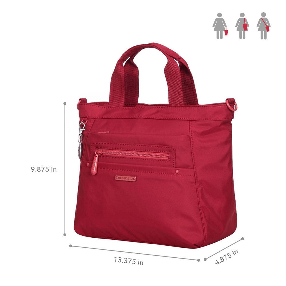 Satchel Handbag - Antioch RFID Pocket Multi Function Satchel Handbag Size [Jester Red]