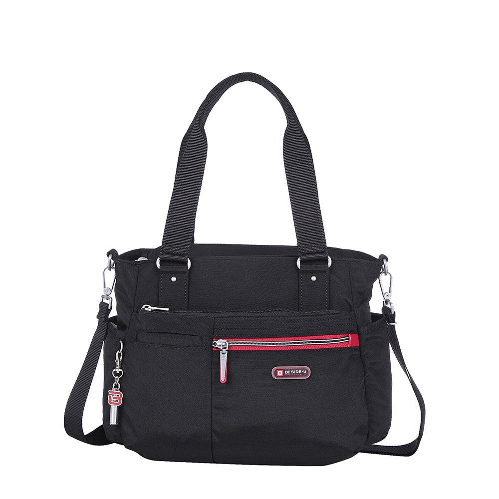Satchel Handbag - Barbados Two-Tone Triple Compartment Satchel Handbag Front [Black And Dark Red]