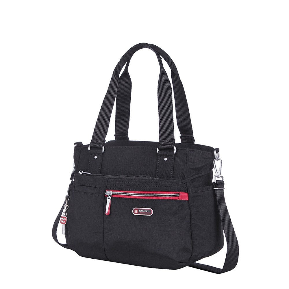 Satchel Handbag - Barbados Two-Tone Triple Compartment Satchel Handbag Angled [Black And Dark Red]