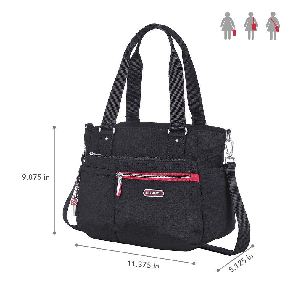 Satchel Handbag - Barbados Two-Tone Triple Compartment Satchel Handbag Size [Black And Dark Red]