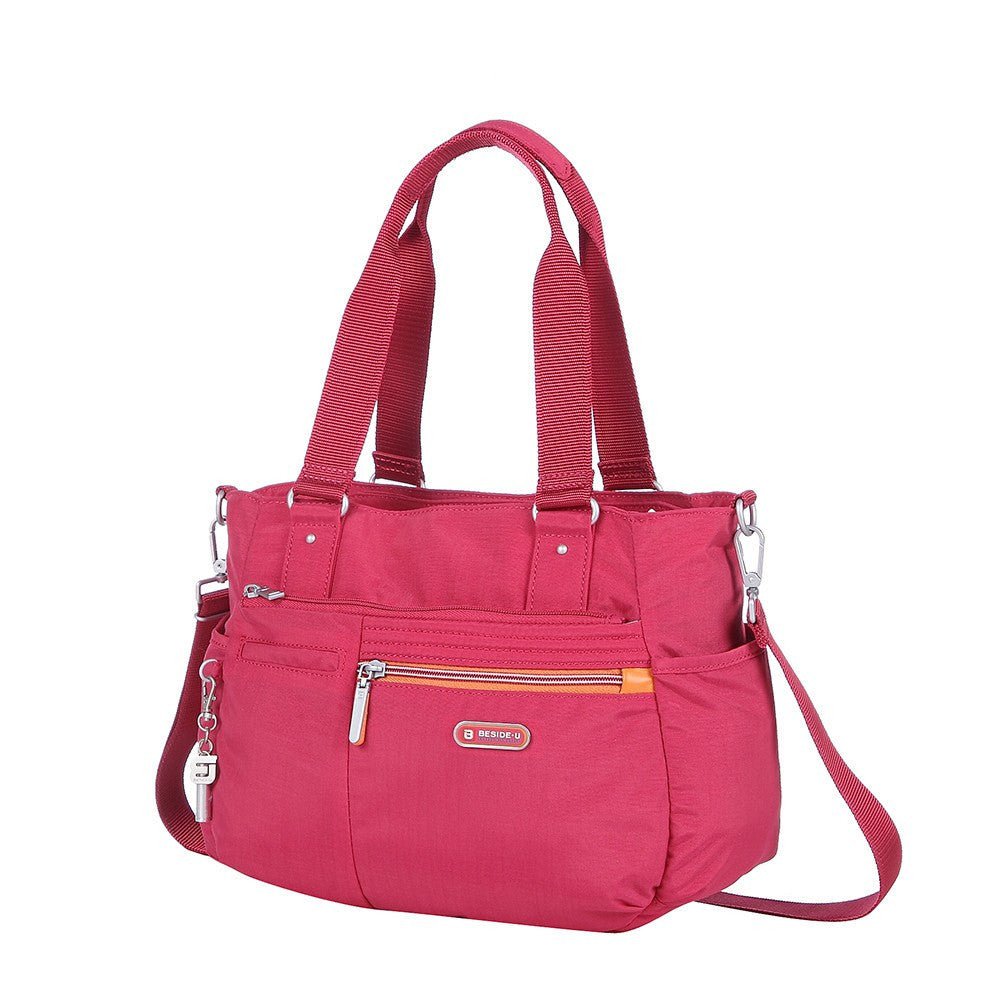 Satchel Handbag - Barbados Two-Tone Triple Compartment Satchel Handbag Angled [Heart Red]