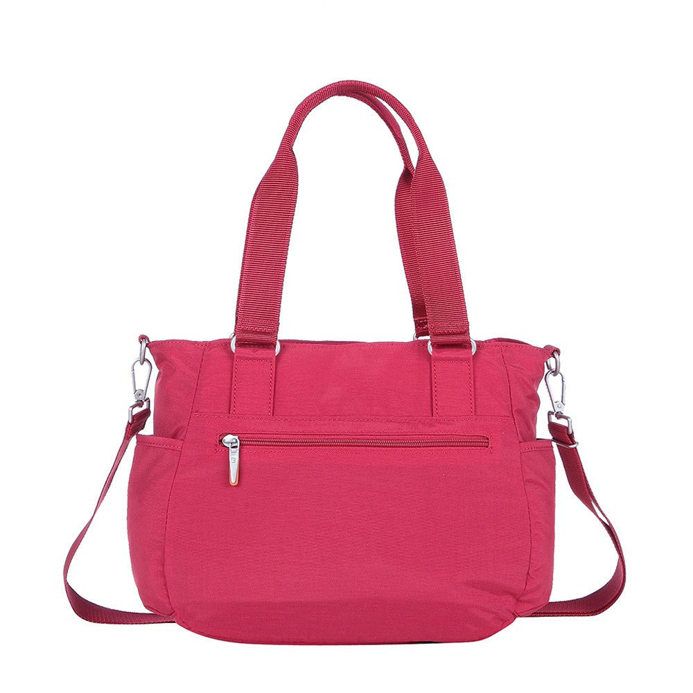 Satchel Handbag - Barbados Two-Tone Triple Compartment Satchel Handbag Back [Heart Red]