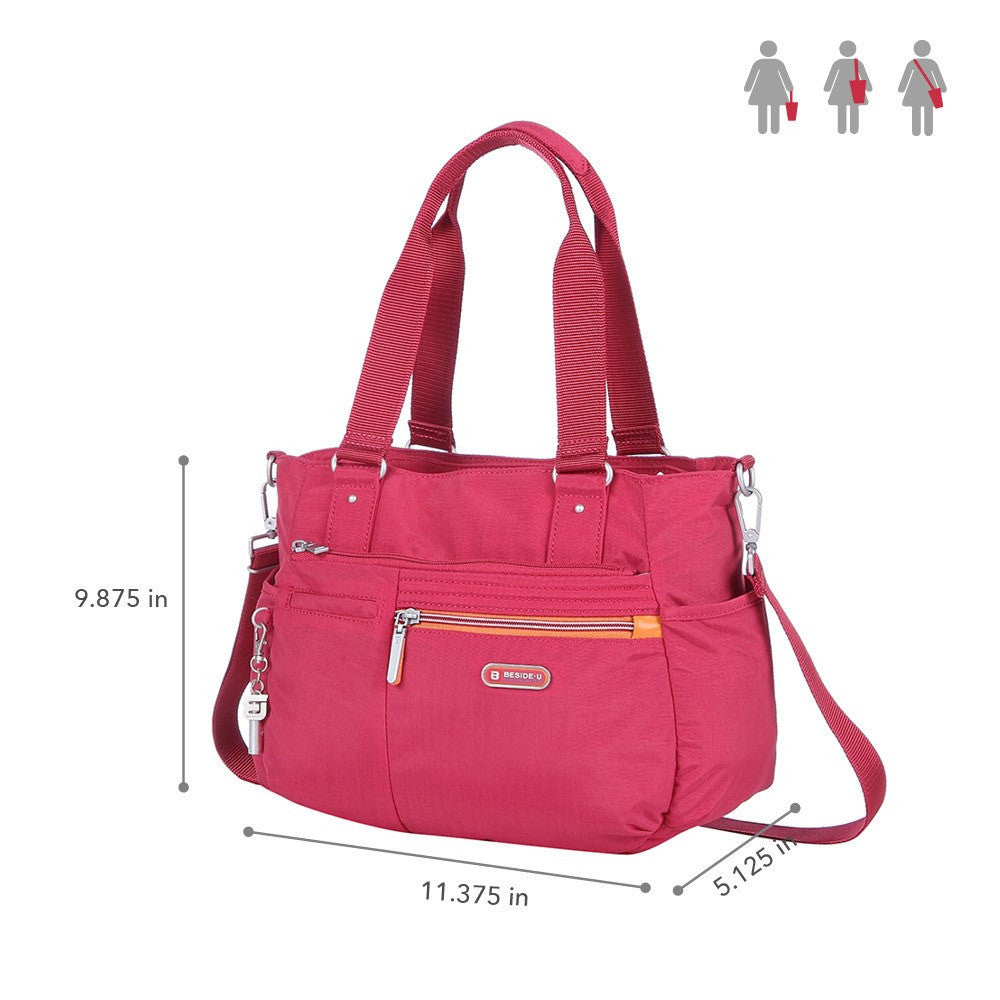 Satchel Handbag - Barbados Two-Tone Triple Compartment Satchel Handbag Size [Heart Red]
