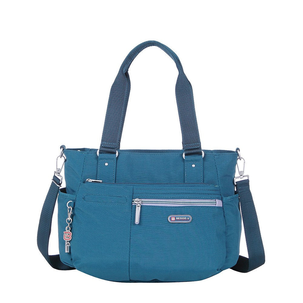 Satchel Handbag - Barbados Two-Tone Triple Compartment Satchel Handbag Front [Navy Blue]