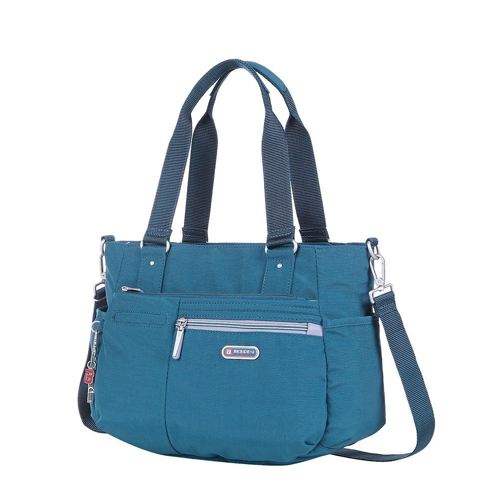 Satchel Handbag - Barbados Two-Tone Triple Compartment Satchel Handbag Angled [Navy Blue]