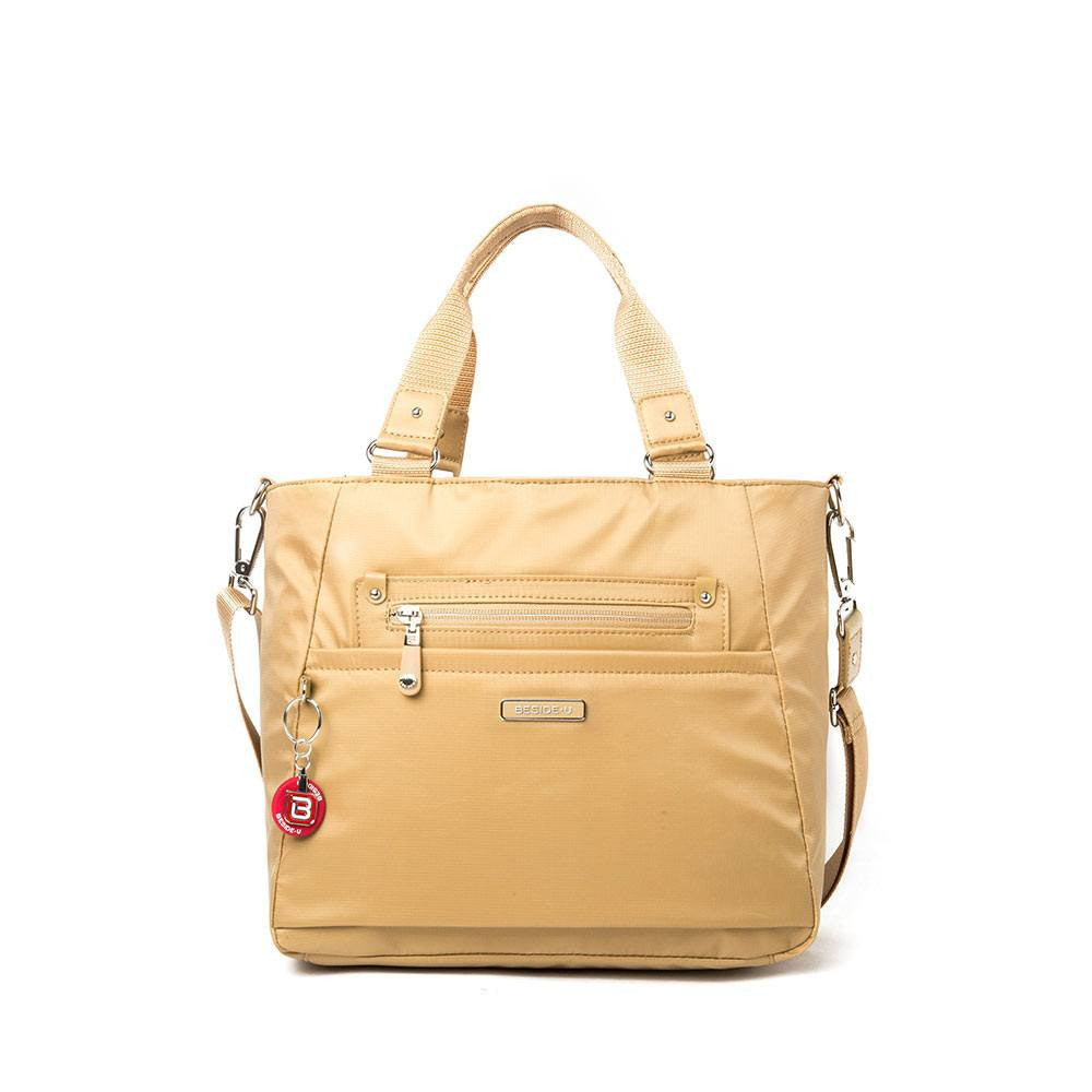 Satchel Handbag - Bellamy Leather Trimmed Multi Function Satchel Handbag With Round Dangle Front [Tan Yellow]