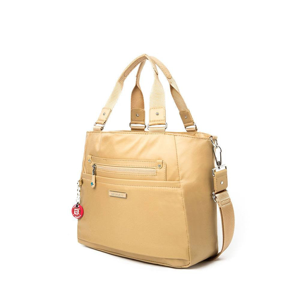 Satchel Handbag - Bellamy Leather Trimmed Multi Function Satchel Handbag With Round Dangle Angled [Tan Yellow]