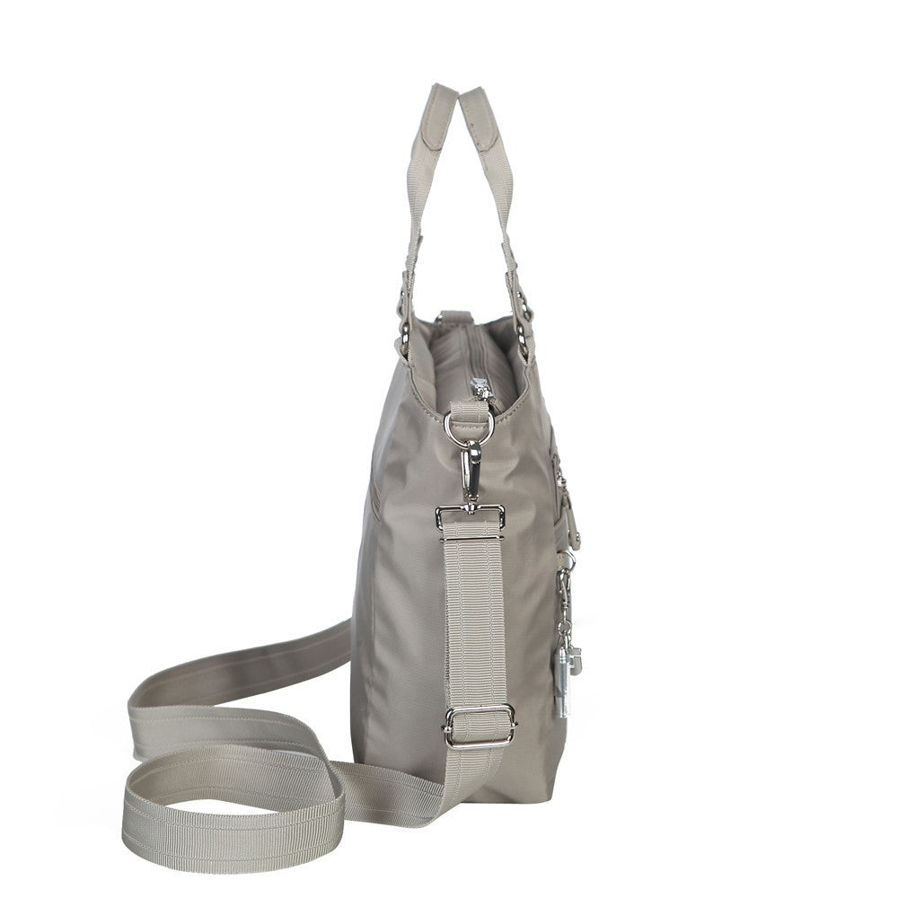 Satchel Handbag - Bellamy Leather Trimmed Multi Function Satchel Handbag With Whistle Dangle Side [Moon Grey]