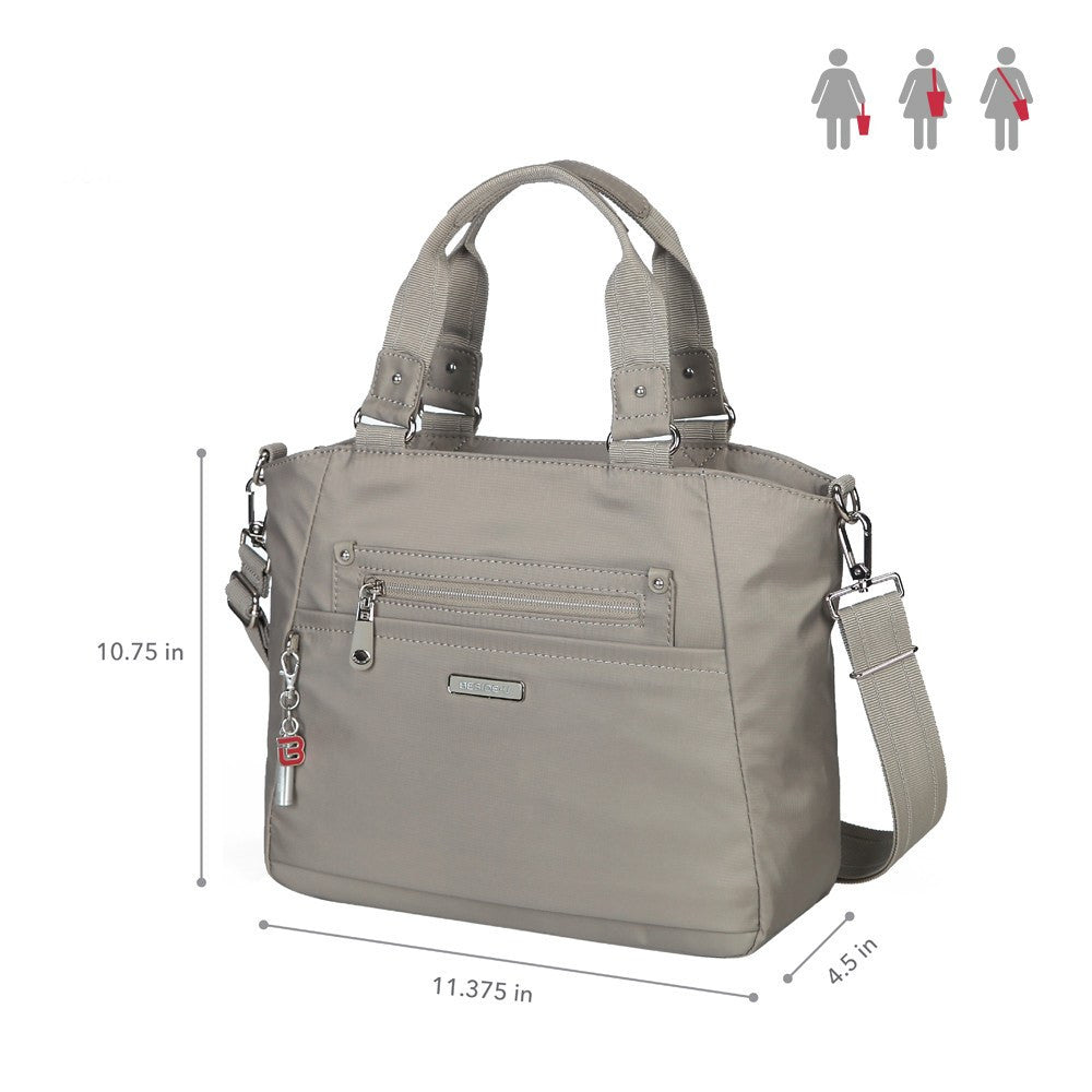 Satchel Handbag - Bellamy Leather Trimmed Multi Function Satchel Handbag With Whistle Dangle Size [Moon Grey]