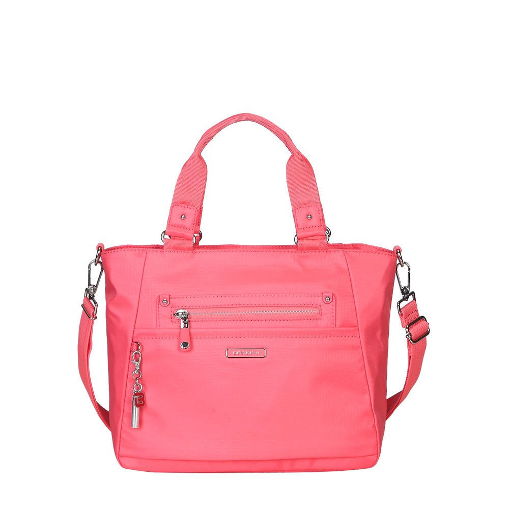 Satchel Handbag - Bellamy Leather Trimmed Multi Function Satchel Handbag With Whistle Dangle Front [Coral Pink]