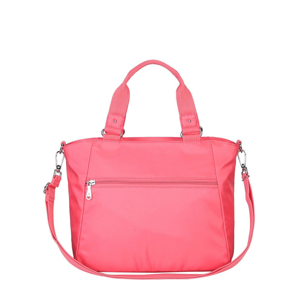 Satchel Handbag - Bellamy Leather Trimmed Multi Function Satchel Handbag With Whistle Dangle Back [Coral Pink]