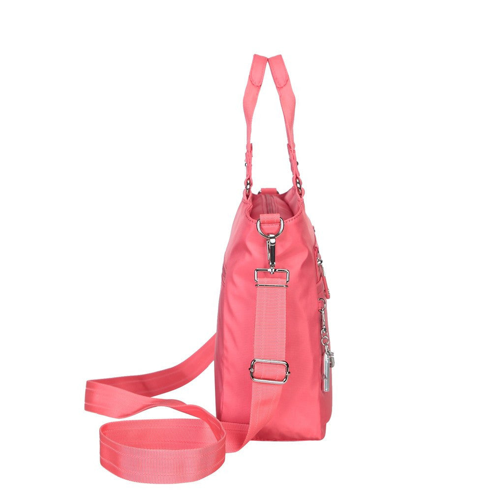 Satchel Handbag - Bellamy Leather Trimmed Multi Function Satchel Handbag With Whistle Dangle Side [Coral Pink]