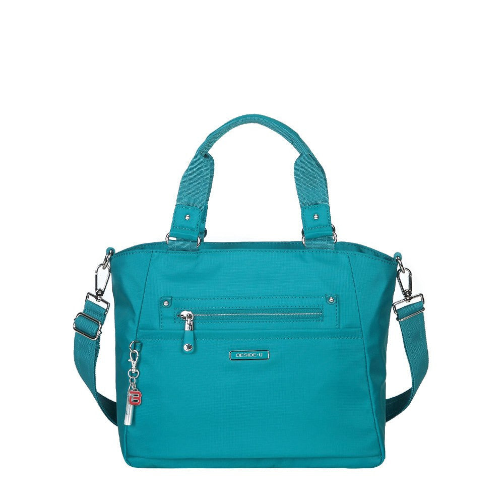 Satchel Handbag - Bellamy Leather Trimmed Multi Function Satchel Handbag With Whistle Dangle Front [Ocean Blue]