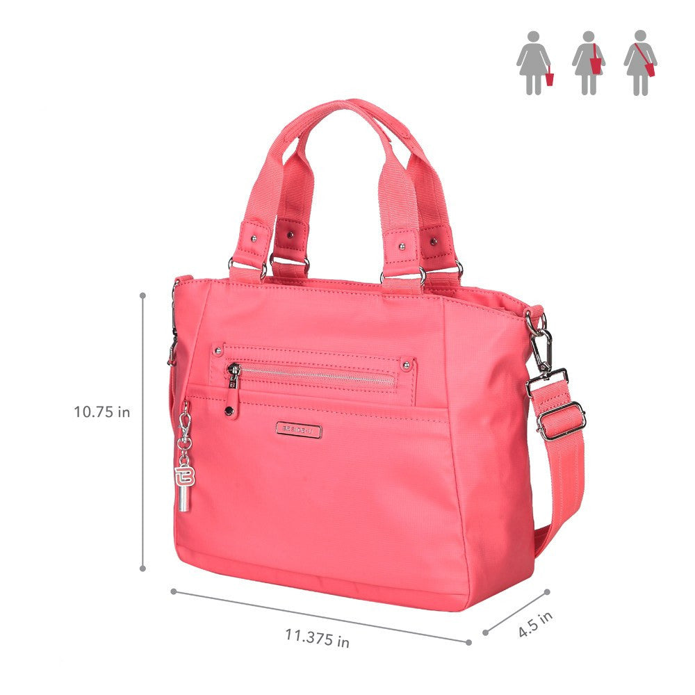 Satchel Handbag - Bellamy Leather Trimmed Multi Function Satchel Handbag With Whistle Dangle Size [Coral Pink]