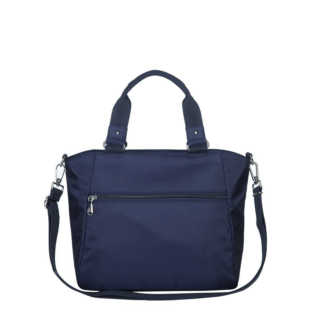 Satchel Handbag - Bellamy Leather Trimmed Multi Function Satchel Handbag With Whistle Dangle Back [Evening Blue]