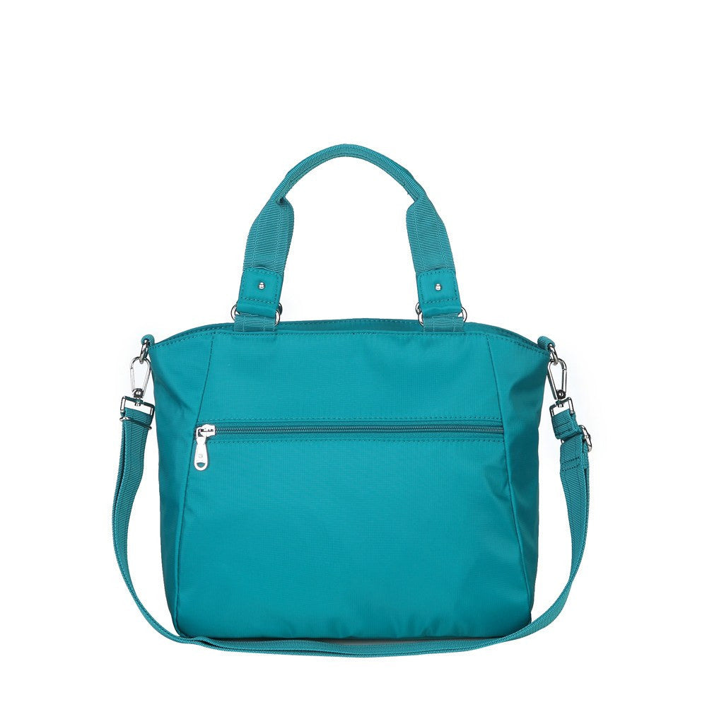 Satchel Handbag - Bellamy Leather Trimmed Multi Function Satchel Handbag With Whistle Dangle Back [Ocean Blue]
