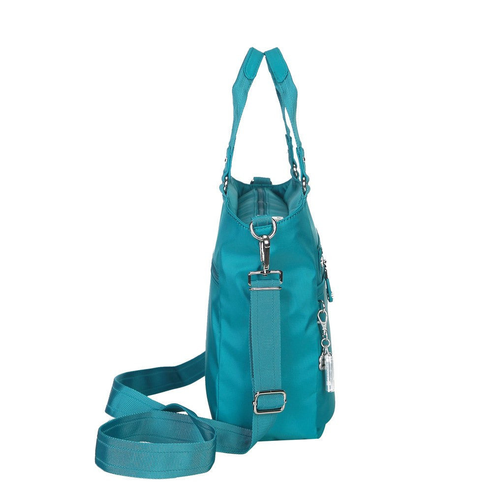 Satchel Handbag - Bellamy Leather Trimmed Multi Function Satchel Handbag With Whistle Dangle Side [Ocean Blue]